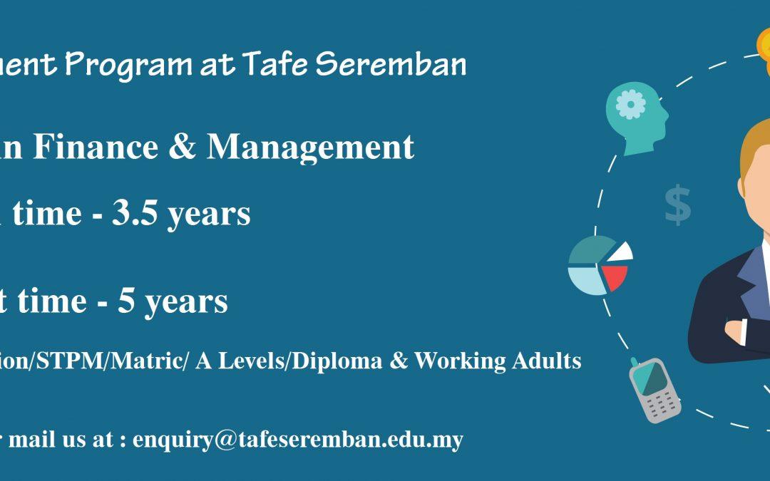 Finance & Management Program at Tafe Seremban